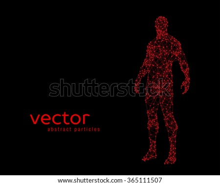 Abstract vector illustration of human body on black background - stock vector