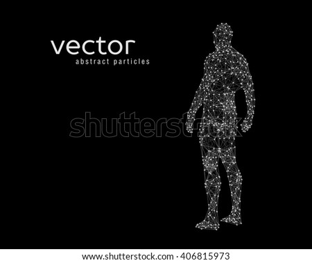 Abstract vector illustration of human body on black background.  - stock vector