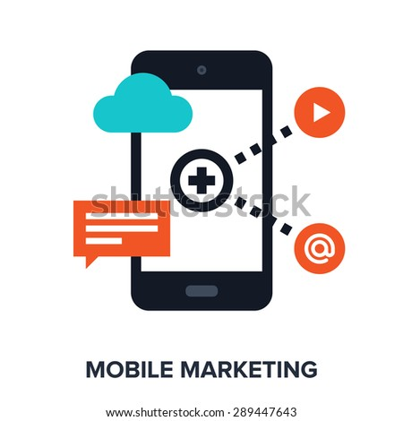 Abstract vector illustration of mobile marketing flat design concept. - stock vector