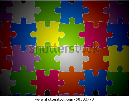 abstract vector illustration of puzzle pieces. - stock vector