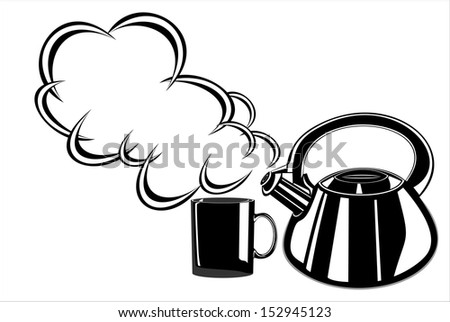 Abstract vector illustration of teapot and cup - stock vector