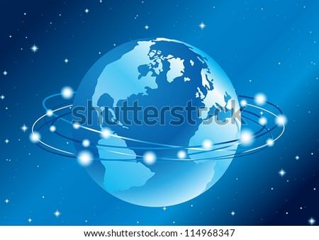 abstract vector illustration of the communication around the globe - stock vector