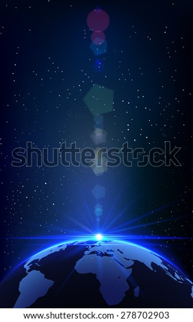 Abstract Vector Illustration of Universe Background with Planet Earth and Light Bokeh.  - stock vector