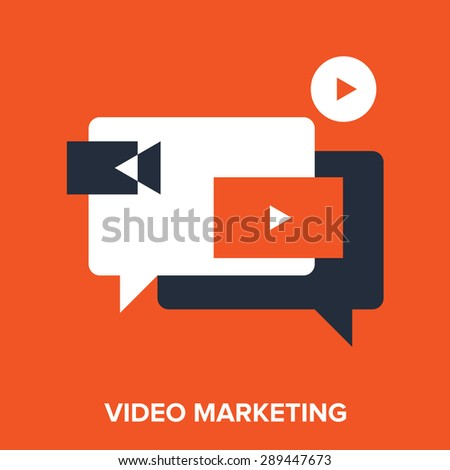 Abstract vector illustration of video marketing flat design concept. - stock vector
