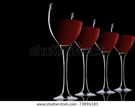 abstract vector illustration of wine glas - stock vector