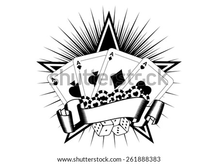 Abstract vector illustration playing cards dice chips - stock vector