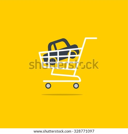 Abstract vector illustration shopping cart icon with car icon - stock vector