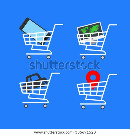 Abstract vector illustration shopping cart icon with map pointer, car icon, smartphone icon, computer flat design icon on a blue background - stock vector
