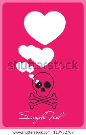 Abstract vector illustration with cranium and hearts. - stock vector