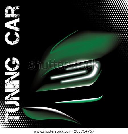 Abstract vector illustration with green tuning sports car - stock vector
