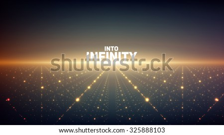 Abstract vector infinity background. Glowing stars with illusion of depth and perspective. Abstract futuristic space on dark background. Abstract sunrise. - stock vector
