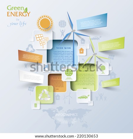 Abstract vector Infographic with wind turbines, green energy concept.  Modern design - stock vector