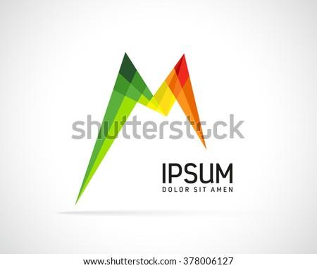 Abstract Vector Logo Design Template. Creative Color Concept Icon. Letter M Stylization  - stock vector