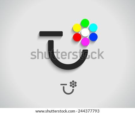Abstract Vector Logo Design Template. Creative Concept Icon. Combination of Letter T or U - stock vector