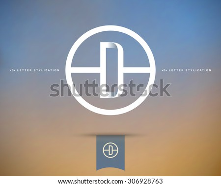 Abstract Vector Logo Design Template. Creative Concept Round Icon. Letter D Stylization  - stock vector
