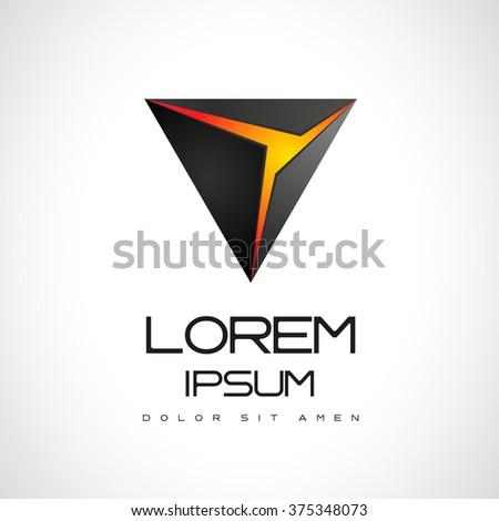 Abstract Vector Logo Design Template. Creative 3d Concept Icon - stock vector