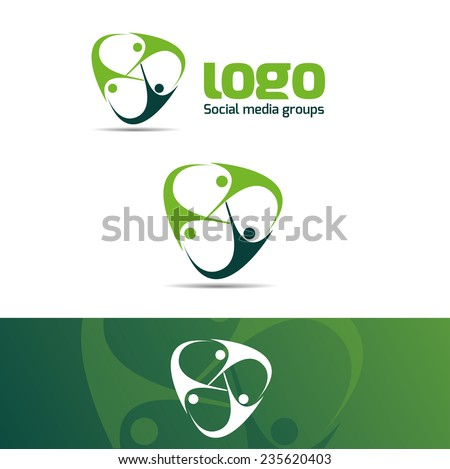 Abstract vector logo of a social group or association of help and support human template for the design concept - stock vector