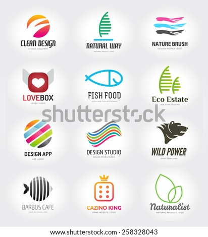 Abstract vector logo template set for branding and design - stock vector
