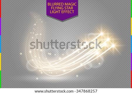 Abstract vector magic glow star light effect with neon blur curved lines. Sparkling dust star trail with bokeh. Special white and golden christmas effect on transparent background - stock vector