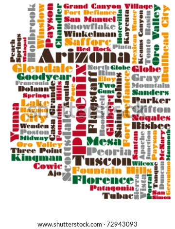 abstract vector map of Arizona state, USA - stock vector