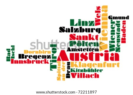 abstract vector map of austria - stock vector