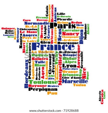 abstract vector map of france / word cloud - stock vector