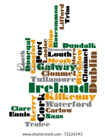 abstract vector map of northern ireland - stock vector