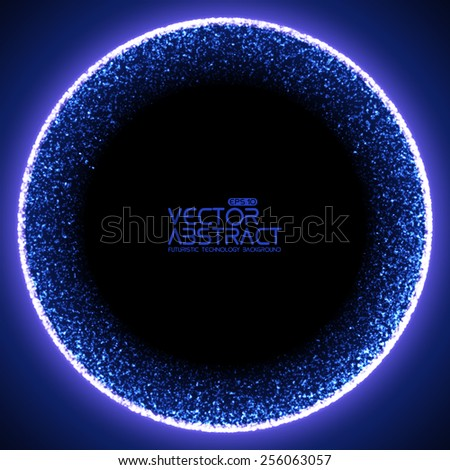 Abstract vector mesh background. Black hole or singularity. Futuristic technology style. Elegant background for business presentations. Flying debris. eps10 - stock vector