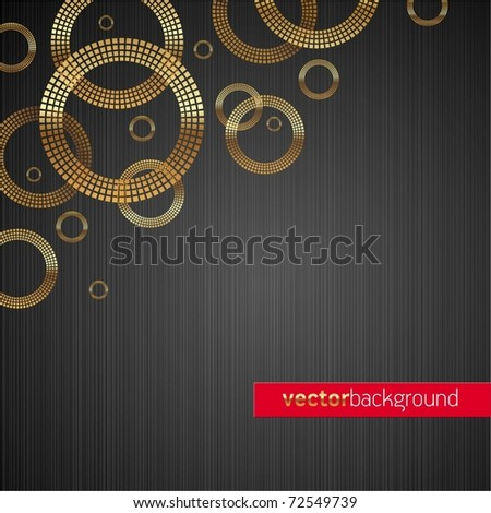 Abstract vector metal texture background with golden luxury shiny circles - stock vector