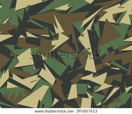 Abstract Vector Military Camouflage Background. Camo Pattern of Geometric Triangles Shapes for Army Clothing. - stock vector