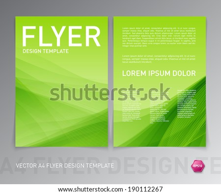Abstract vector modern flyer / brochure design template. Smooth green background. - stock vector