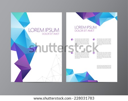 Abstract vector modern flyer / brochure design templates with colorful geometric triangular background - stock vector