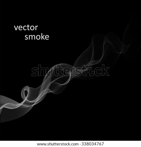Abstract vector monochrome background with cigarette smoke - stock vector