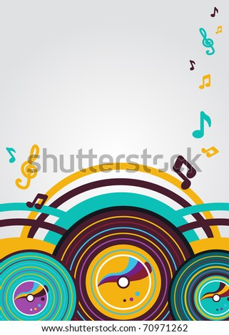 Abstract vector  music background with vinyl plates - stock vector