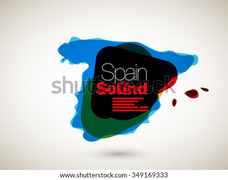 Abstract Vector Nation Map Background - Spain - stock vector