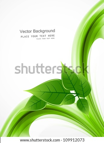 abstract Vector Natural eco green lives wave design - stock vector