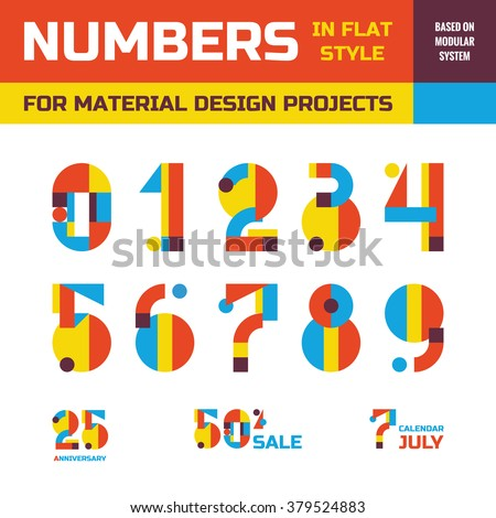 Abstract vector numbers in flat style for material design projects. Geometric concept symbols. Decorative figures. Arabic numerals 0, 1, 2, 3, 4, 5, 6, 7, 8, 9. Creative signs - stock vector