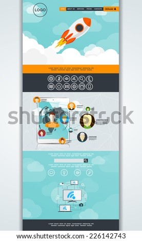abstract vector one page website design template in a flat plot with elements of the user interface, web design start a concept on the theme of communication and social networking and communication - stock vector