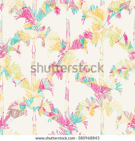 Abstract vector palm watercolor seamless background. Dye allover background. - stock vector