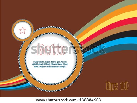 abstract vector plaque in retro style, round frame with rainbow and place for your text - stock vector