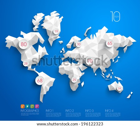 Abstract Vector Polygonal World Map. - stock vector