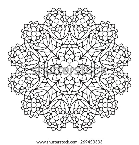Abstract vector round lace design with round corners - mandala, decorative element - stock vector