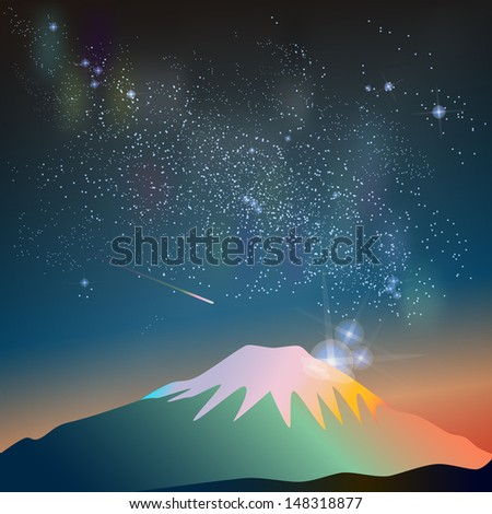 Abstract vector science image of the Milky Way with the Constellation over Fuji mountain. - stock vector