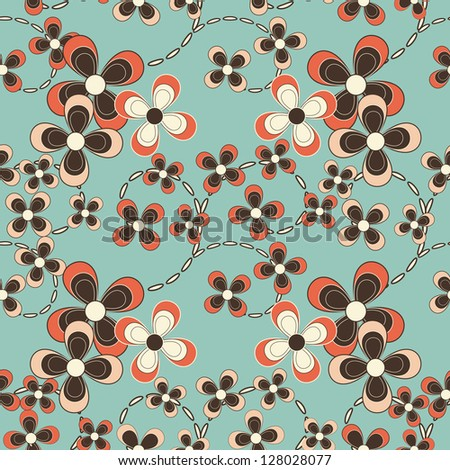 abstract vector seamless floral pattern - stock vector