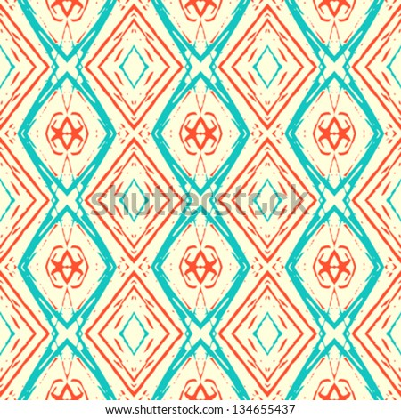 Abstract vector seamless ikat pattern with lines, similar to 50s and 60s wallpapers design. Vintage texture for web, print, fall summer fashion, wrapping paper, website background, interior decor - stock vector