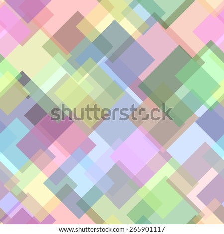 Abstract vector seamless pattern with crossed squares in light tones - stock vector