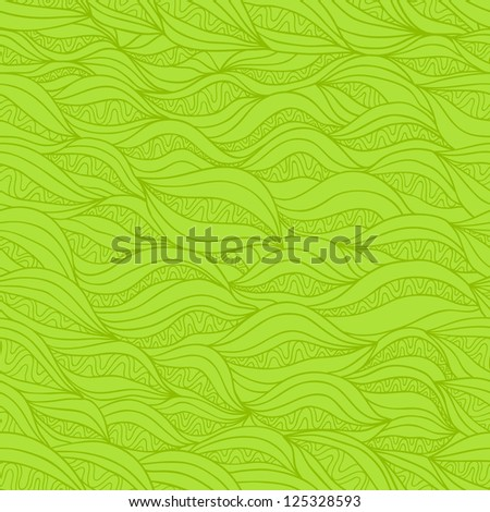 Abstract vector seamless pattern with horizontal stylized decorative fibre. Pleasant green variant - stock vector