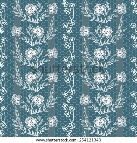 Abstract vector seamless pattern with lace flowers  - stock vector