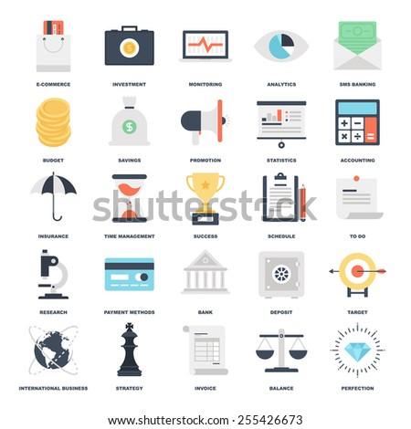 Abstract vector set of colorful flat business and finance icons. Concepts and design elements for mobile and web applications. - stock vector