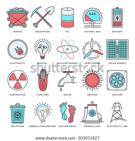 Abstract vector set of line color icons for energy and fuels. Modern style illustrations and design elements for energy resources, environment and technologies. - stock vector